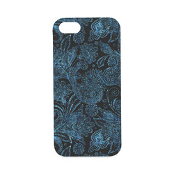Elegant blue flower glitter look Hard Case for iPhone SE