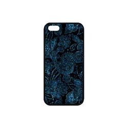 Elegant blue flower glitter look Rubber Case for iPhone SE
