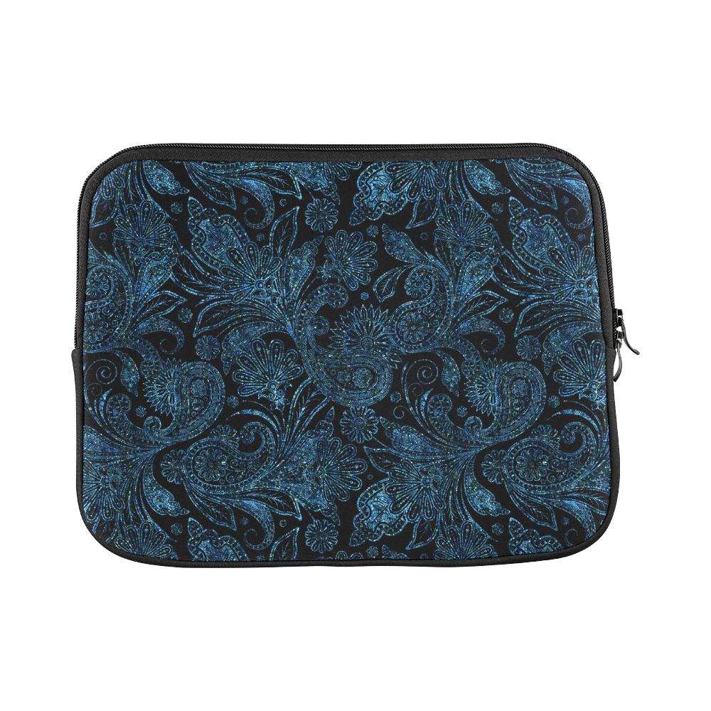 Elegant blue flower glitter look Macbook Pro 11''