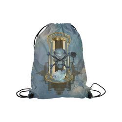 "The blue skull with crow Medium Drawstring Bag Model 1604 (Twin Sides) 13.8""(W) * 18.1""(H)"