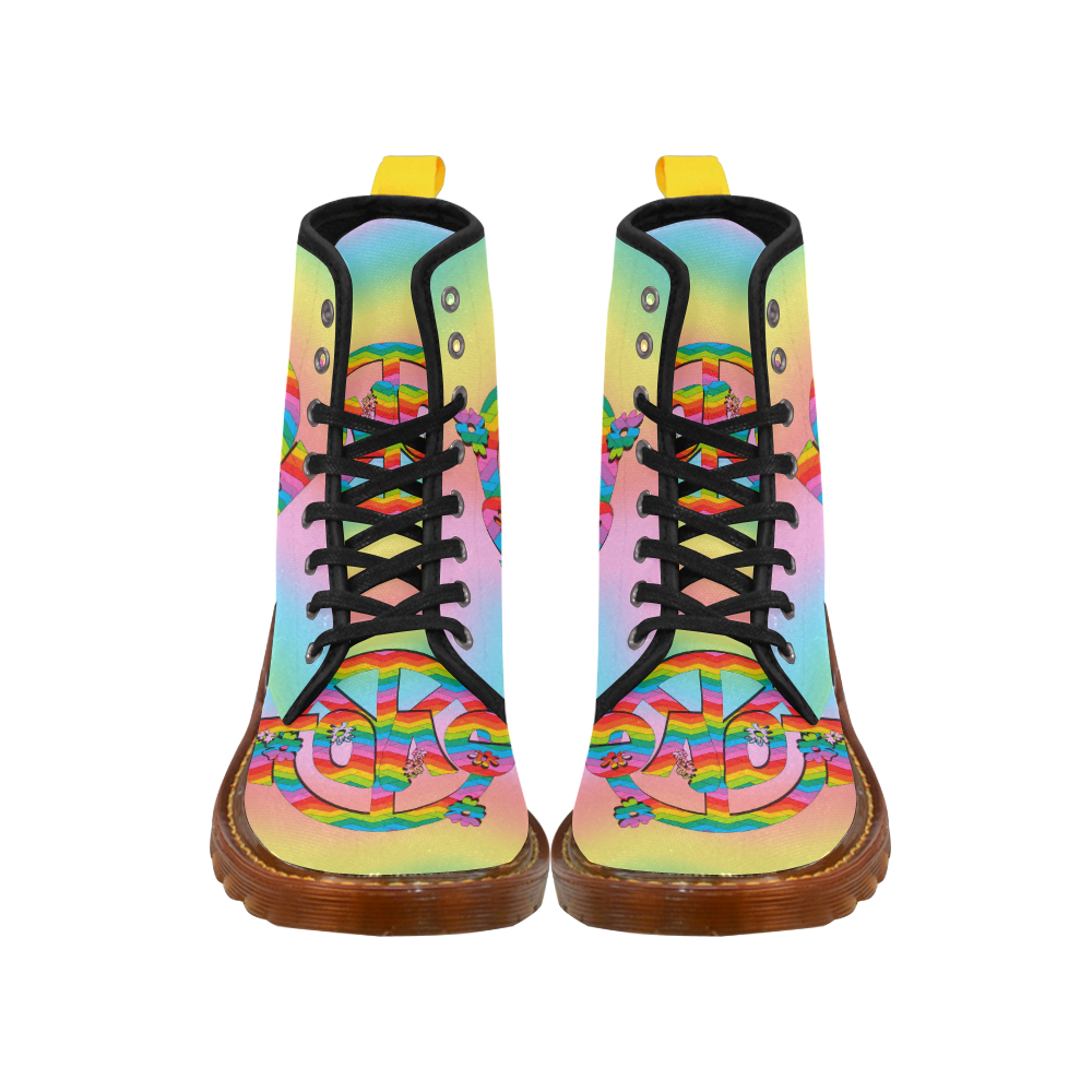 Colorful Love and Peace Background Martin Boots For Men Model 1203H