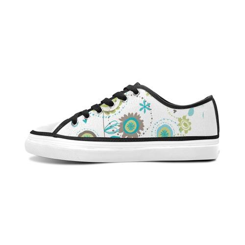 Floral Women's Canvas Zipper Shoes/Large Size (Model 001)