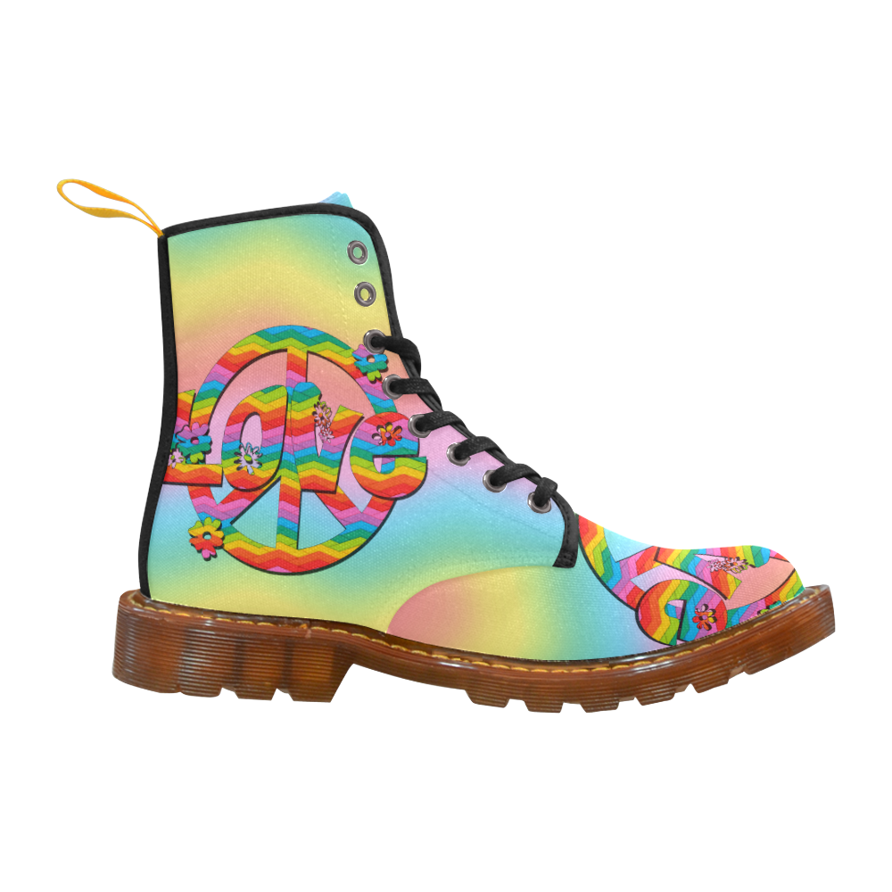 Colorful Love and Peace Background Martin Boots For Women Model 1203H