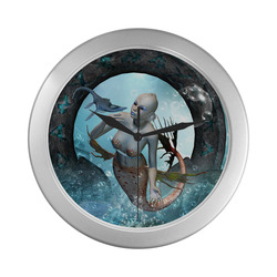 Beautiful mermaid with seadragon Silver Color Wall Clock