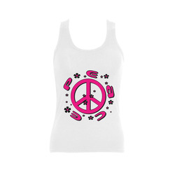 peace pink 3d Women's Shoulder-Free Tank Top (Model T35)