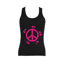 peace pink 3d  black Women's Shoulder-Free Tank Top (Model T35)