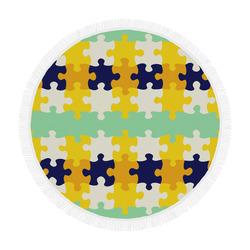 "Puzzle pieces Circular Beach Shawl 59""x 59"""