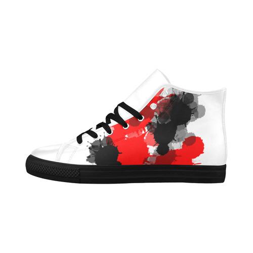 Ink Splatter Aquila High Top Microfiber Leather Men's Shoes/Large Size (Model 032)