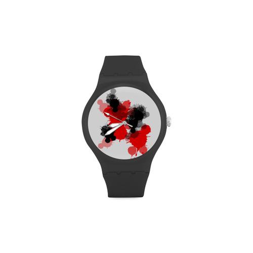 Ink Splatter Unisex Round Rubber Sport Watch(Model 314)