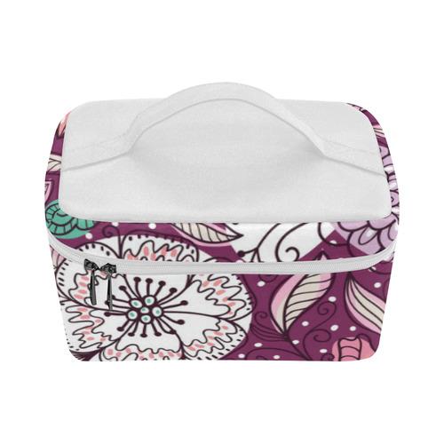 Gorgeous Retro VIntage Floral - Purple Background Lunch Bag/Large (Model 1658)