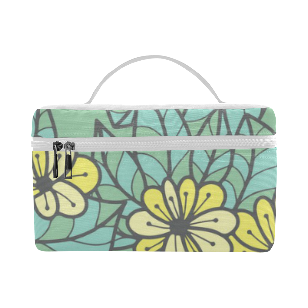 Vintage - Teal Flowers on Teal Background Lunch Bag/Large (Model 1658)