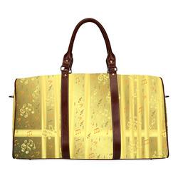 golden music notes Waterproof Travel Bag/Large (Model 1639)