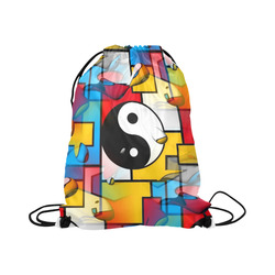 """Yin and Yang Popart by Nico Bielow Large Drawstring Bag Model 1604 (Twin Sides)  16.5""""(W) * 19.3""""(H)"""