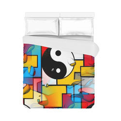 """Yin and Yang Popart by Nico Bielow Duvet Cover 86""""x70"""" ( All-over-print)"""