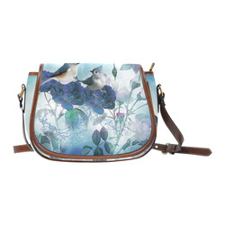 Cute birds with blue flowers Saddle Bag/Small (Model 1649) Full Customization