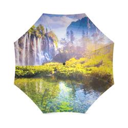 Waterfalls Forest Mountains Nature Landscape Foldable Umbrella (Model U01)