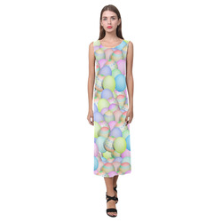 Pastel Colored Easter Eggs Phaedra Sleeveless Open Fork Long Dress (Model D08)