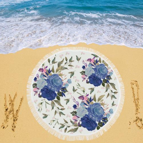 "Roses and Cherries Circular Beach Shawl 59""x 59"""