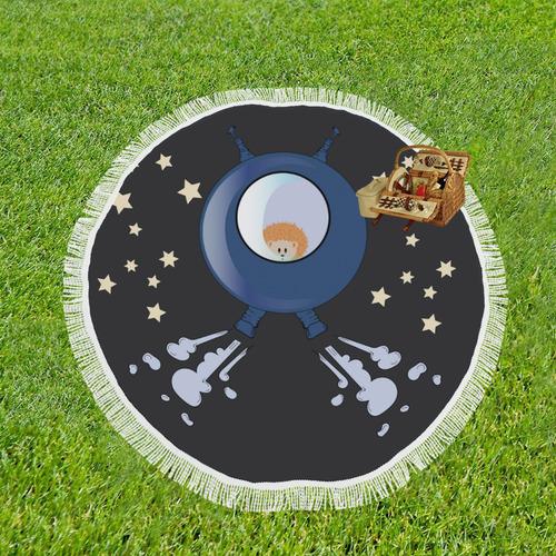 "Hedgehog in space. spacecraft. Circular Beach Shawl 59""x 59"""