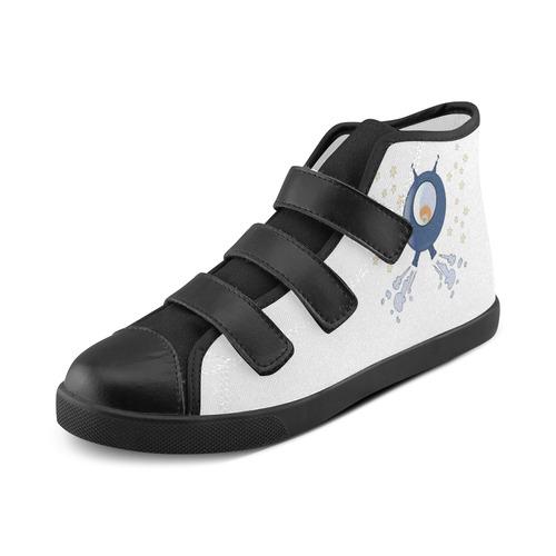 Hedgehog in space. spacecraft. Velcro High Top Canvas Kid's Shoes (Model 015)
