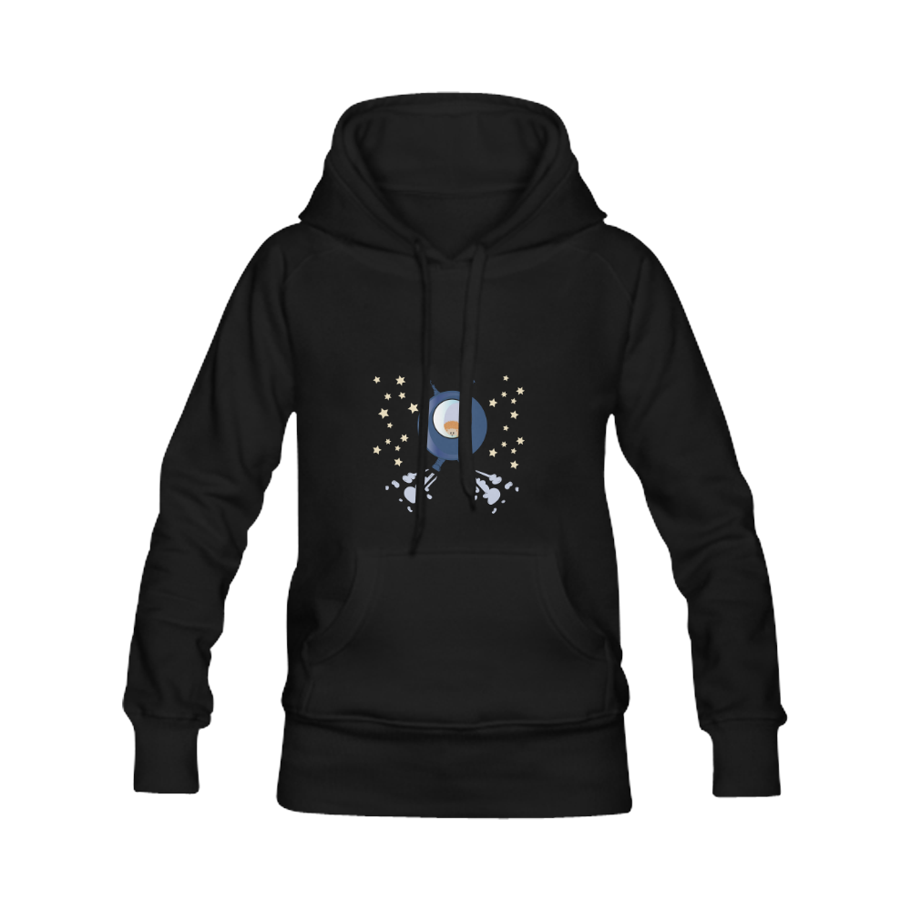 Hedgehog in space. spacecraft. Women's Classic Hoodies (Model H07)