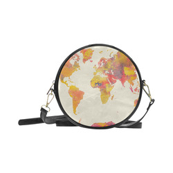 world map Round Sling Bag (Model 1647)