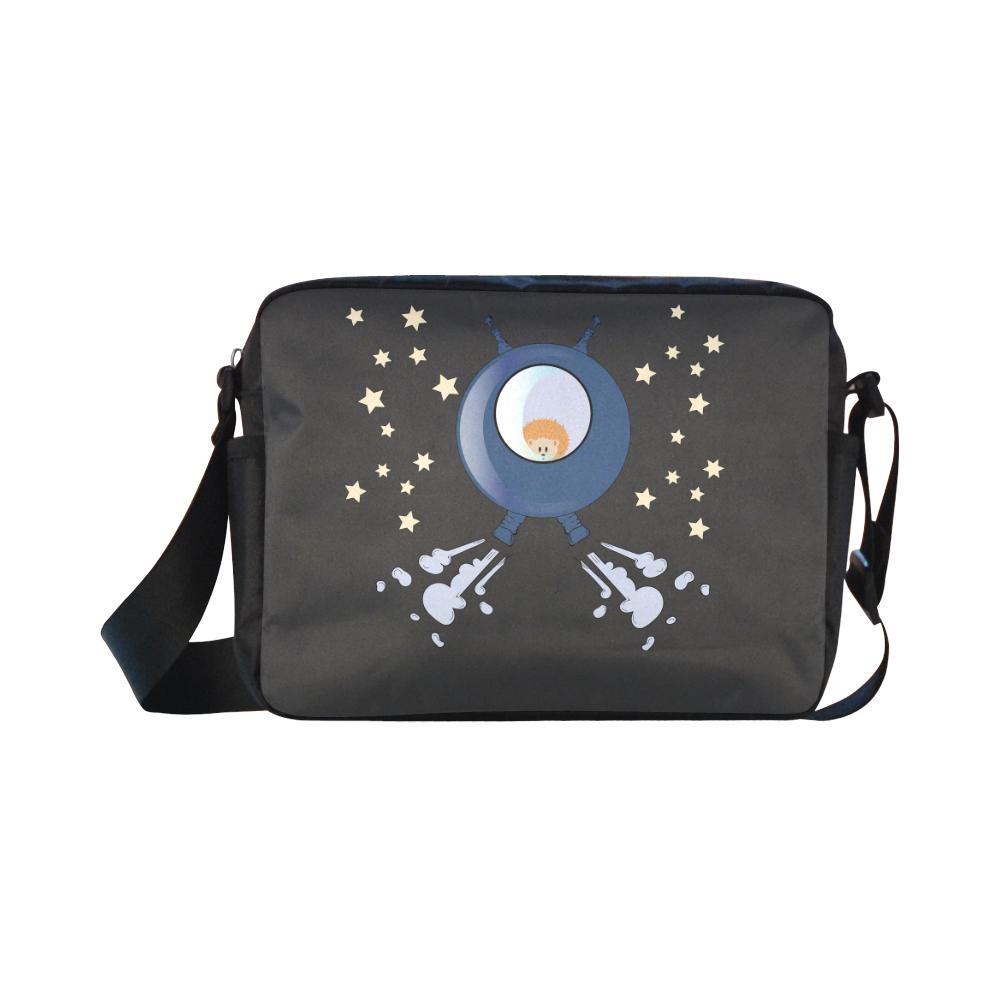 Hedgehog in space. spacecraft. Classic Cross-body Nylon Bags (Model 1632)