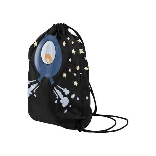 """Hedgehog in space. spacecraft. Large Drawstring Bag Model 1604 (Twin Sides)  16.5""""(W) * 19.3""""(H)"""