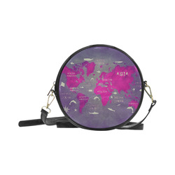 world map Round Sling Bag (Model 1647)