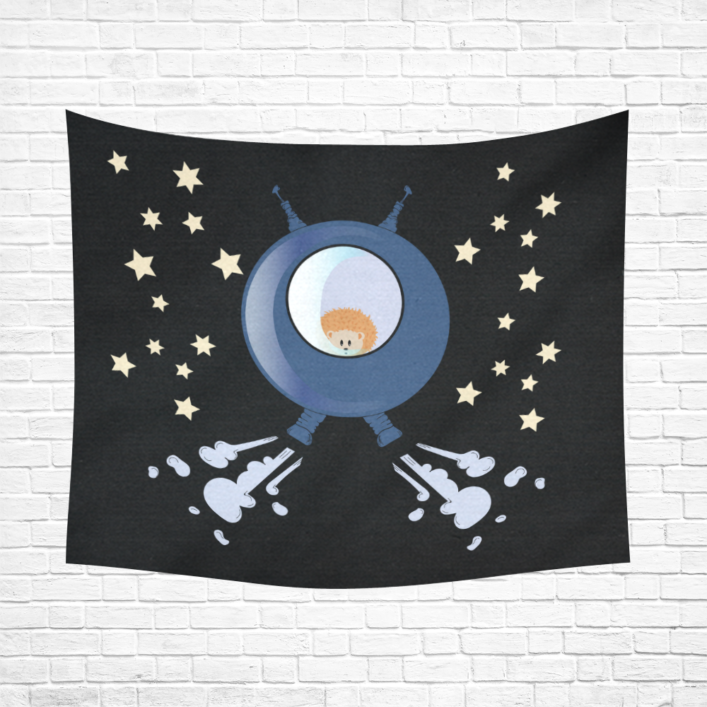 """Hedgehog in space. spacecraft. Cotton Linen Wall Tapestry 60""""x 51"""""""