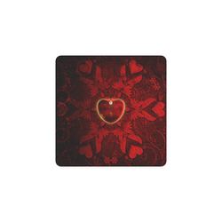 Heart on vintage background Square Coaster