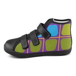 Shapes in squares pattern34 Velcro High Top Canvas Kid's Shoes (Model 015)