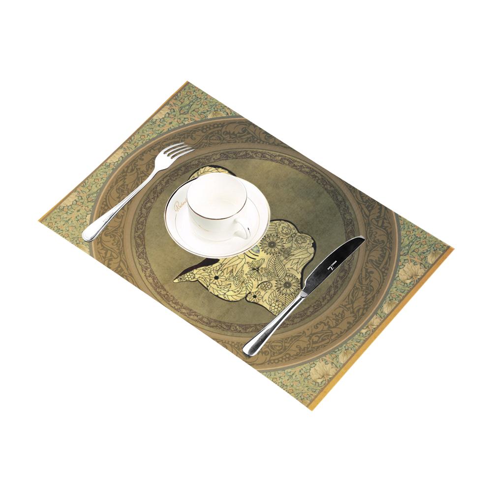 Mandala of cute elephant Placemat 12''x18''