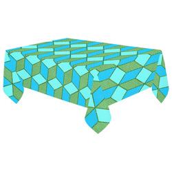 """Blue Green Aqua Geometric Cubes Cotton Linen Tablecloth 60""""x 104"""""""