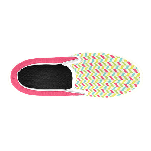 Colorful Herringbone Slip-on Canvas Shoes for Kid (Model 019)
