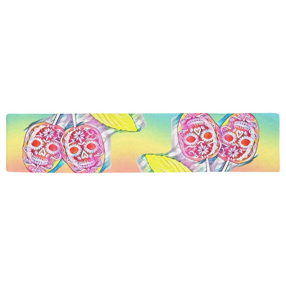 PopArt Cherry Skull Table Runner 16x72 inch