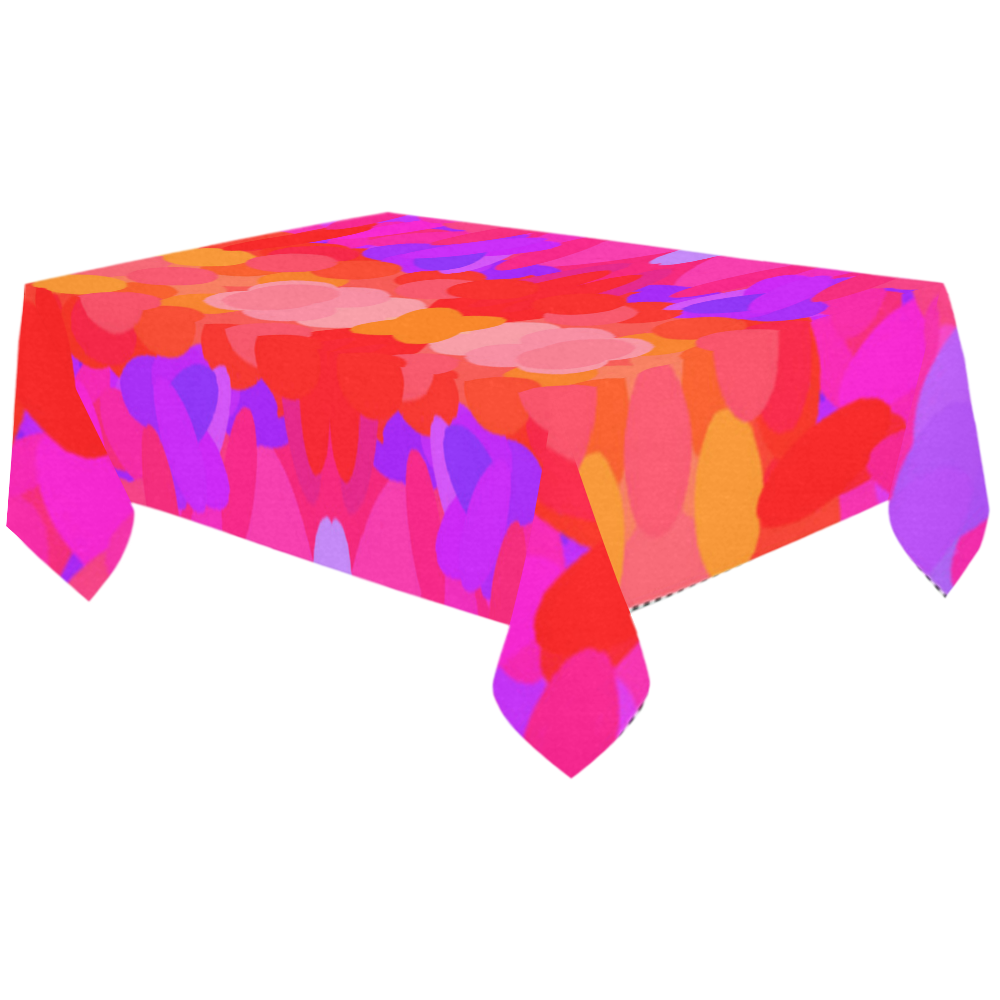 "Purple, pink and orange tie dye Cotton Linen Tablecloth 60""x120"""