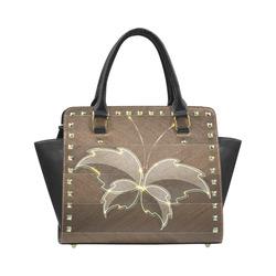 Glass Butterfly on Wooden Board Rivet Shoulder Handbag (Model 1645)