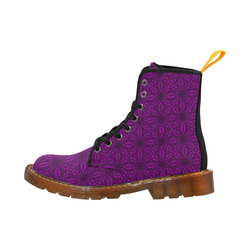 Sexy Purple and Black Floral Lace Martin Boots For Women Model 1203H