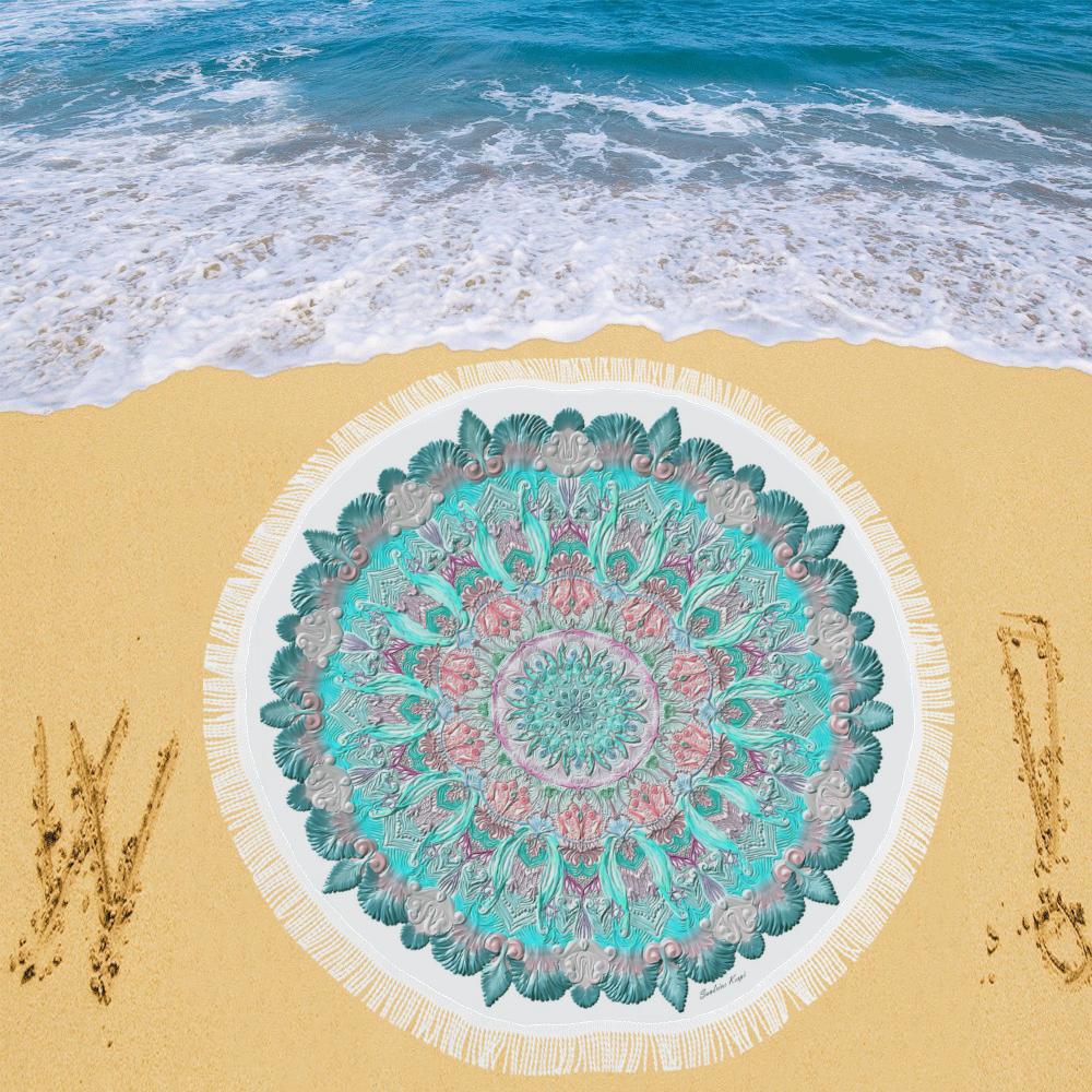 "mandala gloopy 4 Circular Beach Shawl 59""x 59"""