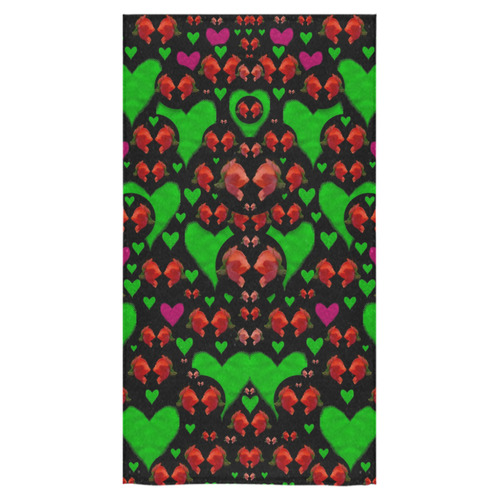 "love hearts and roses Bath Towel 30""x56"""