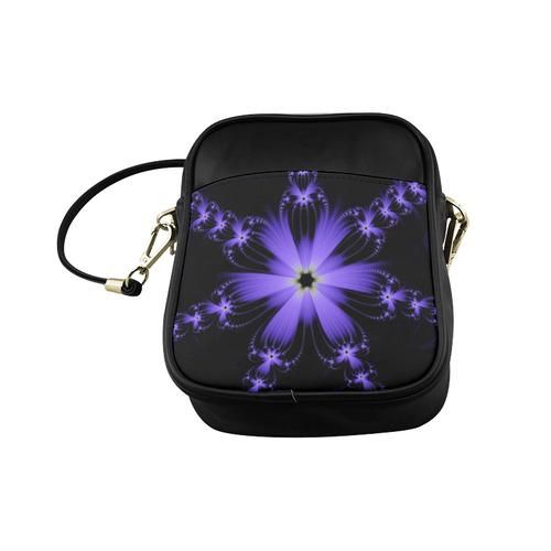 Purple Flower Burst Sling Bag (Model 1627)