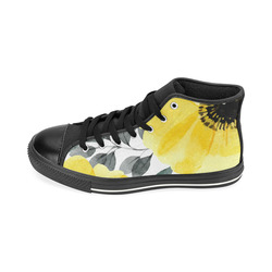 flower yellow big High Top Canvas Women's Shoes/Large Size (Model 017)