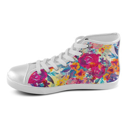 Watercolor flowers and plants 02 Women's High Top Canvas Shoes (Model 002)