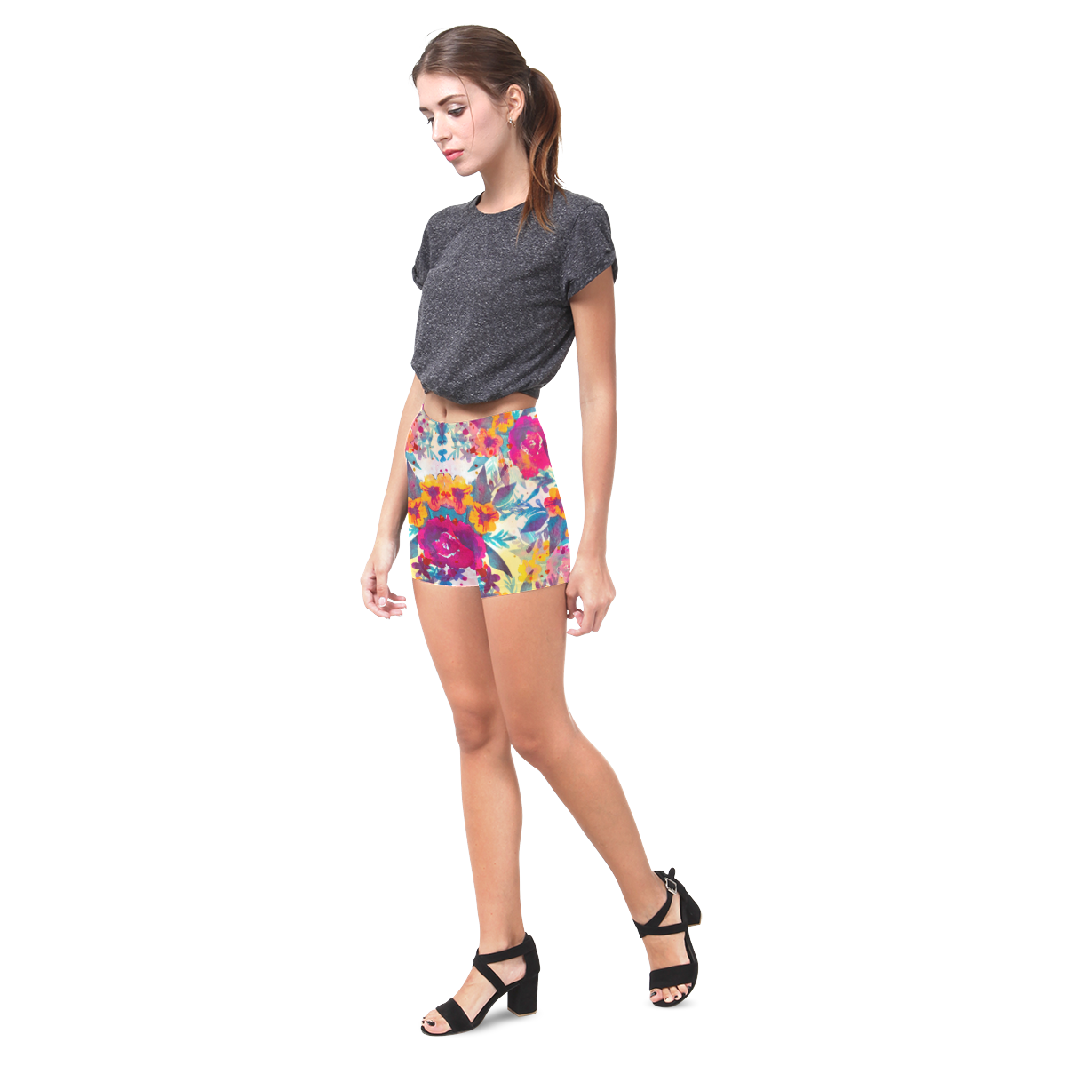 Watercolor flowers and plants 02 Briseis Skinny Shorts (Model L04)