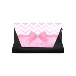 Pink Glitter, Pink Chevron, Pink Bow Clutch Bag (Model 1630)