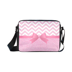 Pink Glitter, Pink Chevron, Pink Bow Classic Cross-body Nylon Bags (Model 1632)