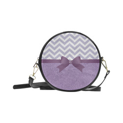 Purple Glitter, Purple Chevron, Purple Bow Round Sling Bag (Model 1647)