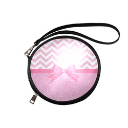 Pink Glitter, Pink Chevron, Pink Bow Round Makeup Bag (Model 1625)