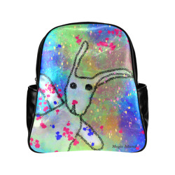 Hi Rabbit (black). Inspired by the Magic Island of Gotland. Multi-Pockets Backpack (Model 1636)